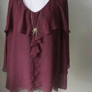 Jennifer Lopez 3x burgundy berry ruffle blouse